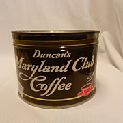 Vintage Advertising Duncan's Maryland Club Key Wind 1 lb Coffee Tin with The Original Lid