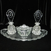 Vintage Crystal Vanity Set- Perfume Bottles & Powder  or Trinket Box.