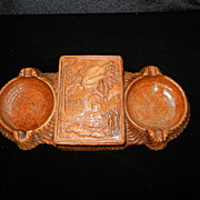 Vintage Styrowood Ashtray and Cigarette Holder