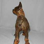 Original Antique Hubley Cast Iron Left Facing Boston Terrier Bulldog