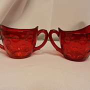 Vintage Red Thumbprint Sugar and Creamer