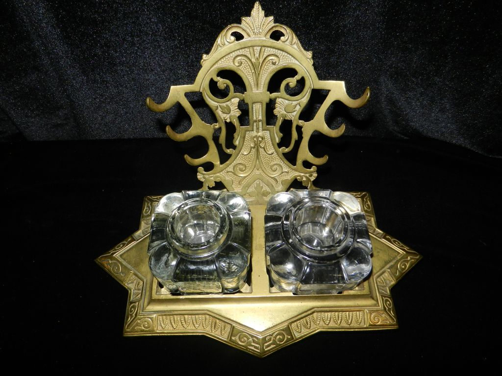 Antique Solid Brass Double Inkwell and Pen Rack-  1870's