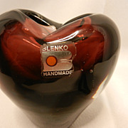 Vintage Blenko Art Glass-  Amethyst  Heart Of Glass Vase