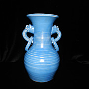 Vintage Made In Japan Blue Vase with Dragon Handles