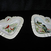 Vintage Pair of Hand Painted Porcelain Ashtrays- Bird Pictures