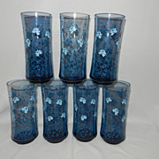 SALE Vintage Blue Glasses with Flowers