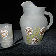 Satin Glass Water Pitcher and Glass