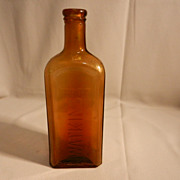 Vintage Embossed Amber Watkins Cork  Top  Extract or Medicine Bottle