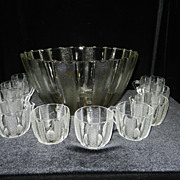 Vintage Dewdrop  Punch Bowl and Cups by Jeanette Glass