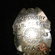 Vintage Southwestern Honorary State Senate Badge-1949