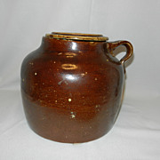Vintage Brown Stoneware One Handle Covered Bean Pot