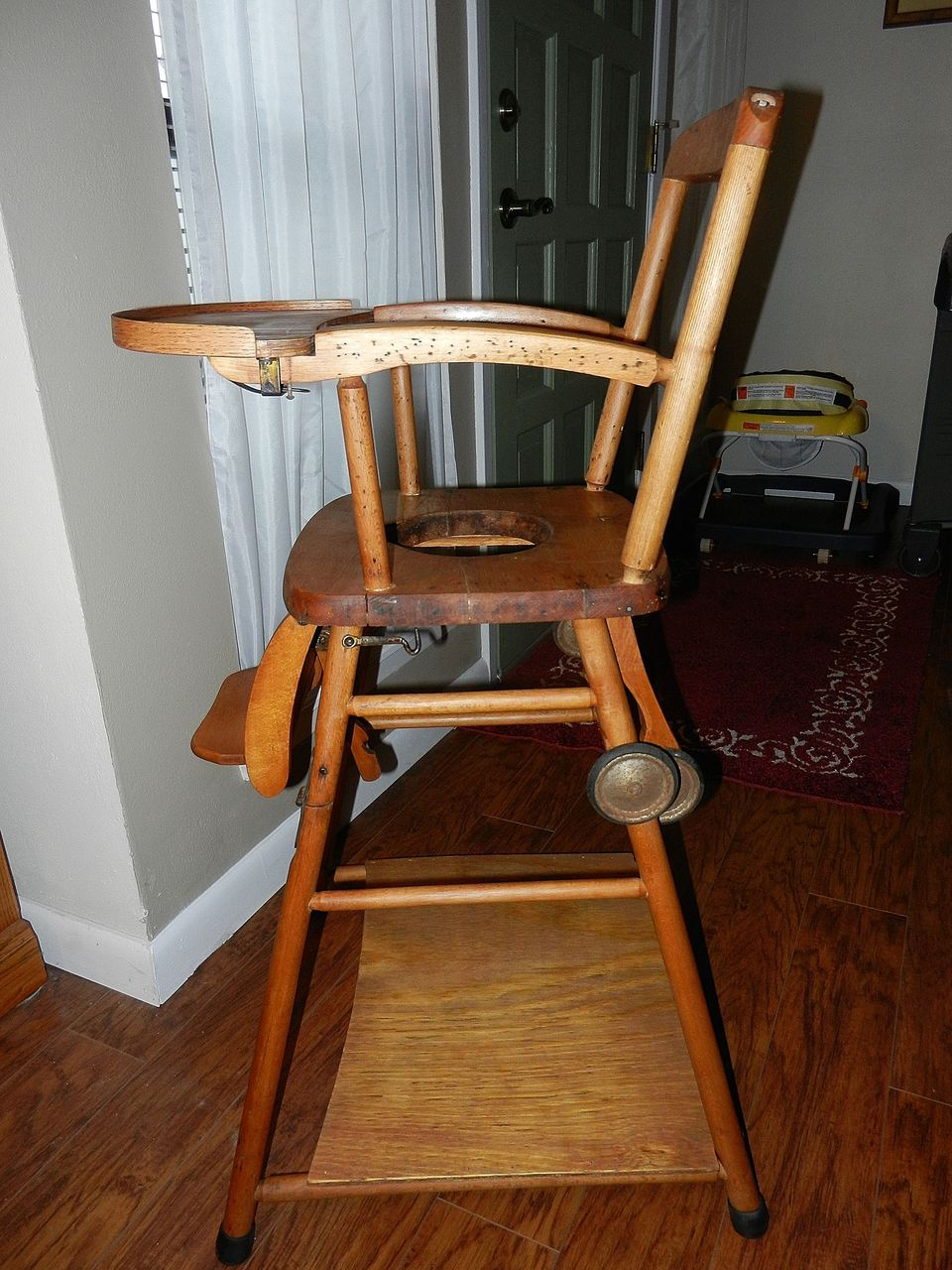 Vintage wooden high chair potty chair and play chair in for Antique high chairs