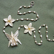 SALE GORGEOUS Hawaiian Carved Ivory Orchid & Plumeria Blossoms Sterling Necklace !