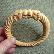 SALE PENDING AMAZING Genuine Ivory Tigers Antique Cuff Bracelet---Substantial Piece !!