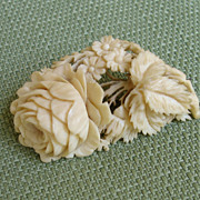 SALE PENDING EXQUISITE Victorian Genuine Ivory Rose & Forget-Me-Nots Antique Brooch / Pin !