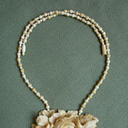 SALE PENDING AMAZING PLUSH Victorian Genuine Ivory Cabbage Roses Antique Necklace -- WOW..Exqu