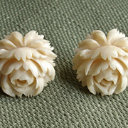 REDUCED Amazing Angel Skin Coral PEONY Flower Carved Vintage Earrings !!