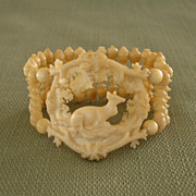 EXQUISITE Victorian Hand Carved Doe Deer Antique Bone Bracelet !