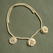 LOVELY Dainty Carved Roses Vintage Bone Necklace !