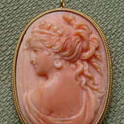 "SALE PENDING AMAZING BEAUTY Large 1.85"" Angel Skin Coral Goddess in 18kt Pendant / Brooch"