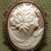 AMAZING Large 2.25&quot; Goddess Cameo Victorian 10kt Pendant / Brooch - circa 1880's