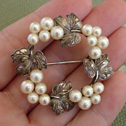 EXQUISITE Mikimoto Akoya Pearls &quot;Grapes & Grape Leaves&quot; Vintage Sterling Brooch, c. 