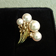 EXQUISITE Mikimoto 5 Akoya Pearl & Diamonds 14K Gold Ring w/ Appraisal - Size 7 & GORGEOUS !!