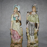 Porcelain Bisque Figurines Occupied Japan Lady and Gentleman