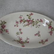 REDUCED Porcelain,Haviland France-Haviland & Co. Limoges small pink roses, Relish Dish, Circa