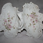 Antique 19th Century German Porcelain Divided Lobster Dish Handpainted