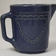 Blue Crock Pitcher, salt glaze stoneware chain pattern, early 1900's RARE