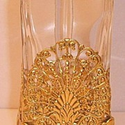 French Gilt Brass Ormolu Filigree Crystal Vanity Caddy Scent Perfume Bottle
