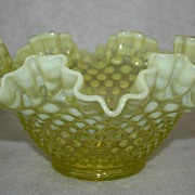 Fenton, Topaz, Yellow Opalescent double ruffled bowl hobnail