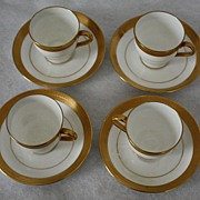 Vintage Mintons Fine Porcelain Demitasse Cups/Saucers--Set of Four