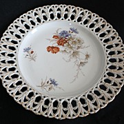 "Vintage Handpainted German Porcelain 13"" Reticulated Pierced Plate"