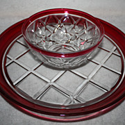 Vintage glass ruby flash Chip and Dip Set
