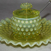 SALE PENDING Fenton Hobnail vaseline yellow jam jelly jar and plate