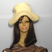 1970's Leslie James Blonde Mink Wide Brim Hat