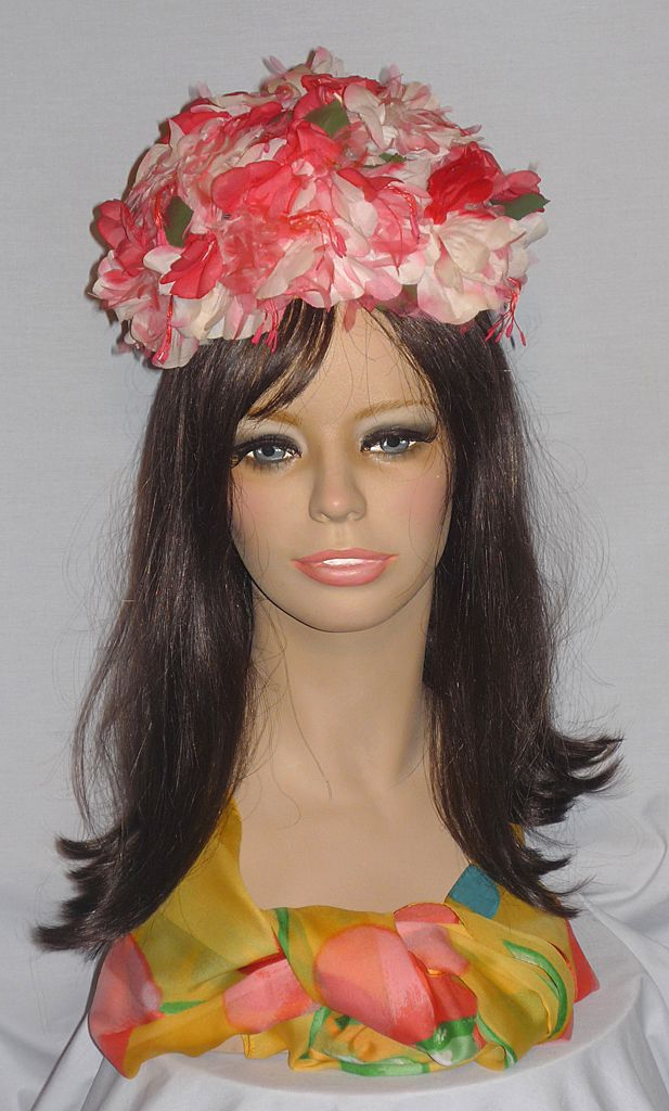 Vintage 1960's Floral Bubble Toque Hat Designed by Schiaparelli