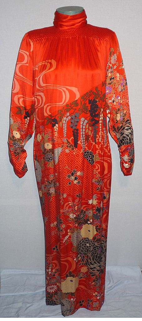 Vintage 1970's-80's Exquisite Red Silk Hanae Mori Evening Dress