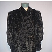 SALE Rare Vintage Victorian 1880's-90's Black Crushed Velvet Full Length Coat with Embroidery