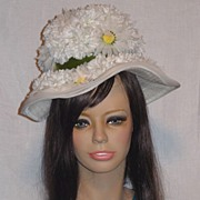Vintage 1960's Floral Hat with Cascades of Daisies and Carnations
