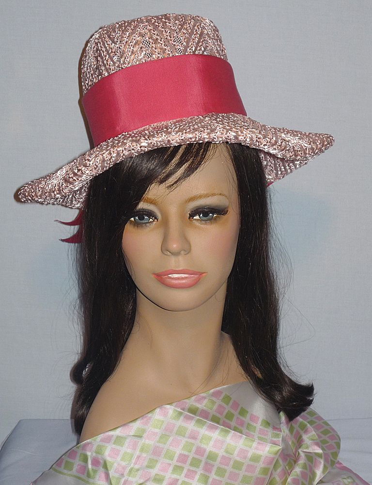 Vintage 1960's Pink Woven Straw Hat Designed by Reggi of Wilshire