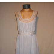 Early 1960's Lace Trimmed Blue Nightgown by Fern Lingerie, New York