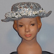 Vintage 1950's Little Girl's Powder Blue Woven Straw Hat With Forget-Me-Nots