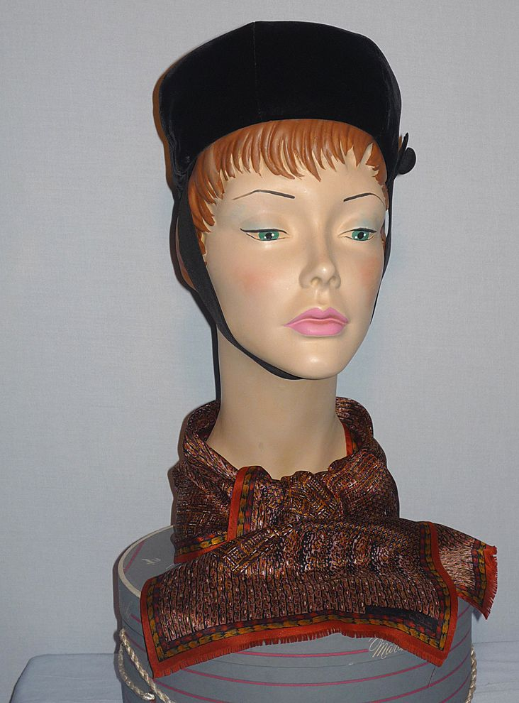 Vintage 1960's Black Velvet Pillbox Hat Designed by Adolfo II