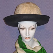Vintage 1960's Black Straw Breton Style Hat With White Feather Crown Designed by Ann Marie