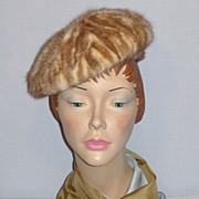 1960's Caramel and Cream Mink Hat Designed by Vera Whistler