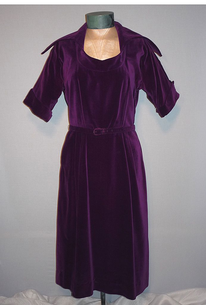 1950's Elegant Purple Velvet Cocktail Dress