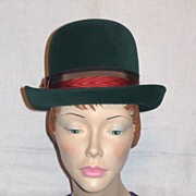 SALE c.1960's Deep Green Derby Style Hat by Jean Arlett Creations